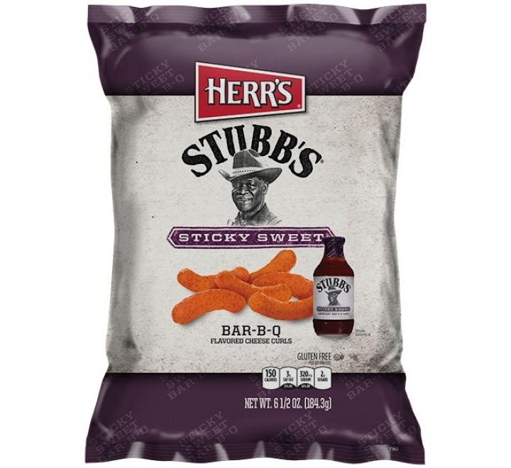 Herr's Stubb's Cheese Curls, Sticky Sweet Bar-B-Q (184g)