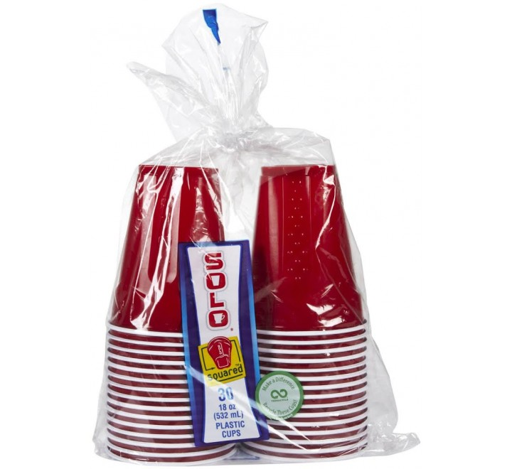 Red Solo Easy Grip Disposable Plastic Party Cups (30 Pack)