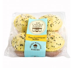 The Chelsea Bakery - 4 Muffins, Lemon topped & Filled